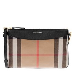 a7c01ce9792 Burberry Women's House Check and Clutch Bag Black #Affiliate Leather Clutch  Bags, Leather Purses