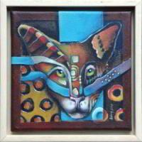 Kat III. Een schilderijtje van Ingeborg Leeftink.   Het formaat is 23 x 23 cm (met lijst).   Excl. verzendkosten: € 120,00