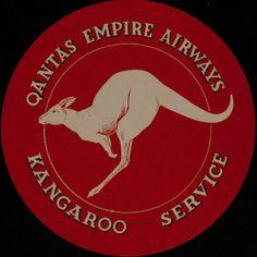 DP Vintage Posters - Qantas Empire Airways Original Luggage Label Kangaroo Service