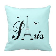 The Eiffel Tower, Paris Black Word Art Picture on an Aqua Blue background give these Pillows a really classy look. Simple but effective they will enhance any type of room be it a bedroom or living area. Click on the image below to see similar Paris themed products and designs Ooh La La Gay Paris by Fliss
