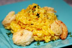 Can't wait to make this when it cools down outside! Cornmeal Shrimp with Butternut Squash Risotto