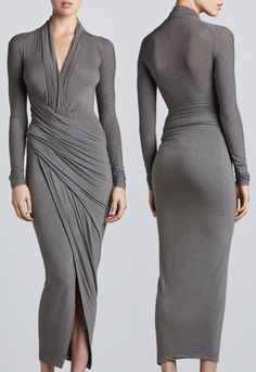 donna karan draped plunging neck midi wrap dress-horz