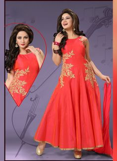 Remarkable Red Designer Salwar Kameez. Fulfill your wish to look rich by clad in this beautiful designed Salwar Suit with Resham work. As shown as bottom and dupatta come with. #weddingsuits, #wholesalesuppliers