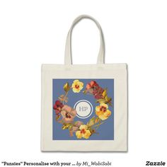 """""""Pansies"""" Personalise with your initials Tote Bag"""