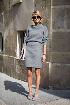 what to wear to work, outfit inspiration: try a wayfarer sunglass, gray pumps, gray turtleneck, gray pencil skirt, clutch that you can pop into a big tote