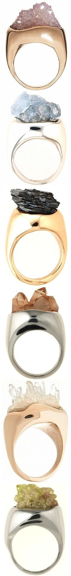 Cosa Fina raw crystal rings: amethyst, celestite, hematite, gold topaz, quartz, vesuvianite