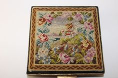 Vintage Compact Scenic Petit Point Purse Needlepoint