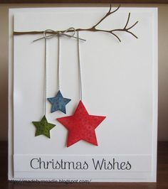 Simple Christmas Card with Stars. do with hearts for vday