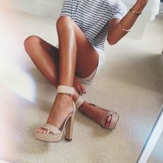 Gorgeous nude heels paired with casual stripes tee