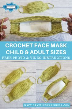 Face Mask Free Crochet Patterns & Paid + Video - DIY Magazine face mask for kids pattern free Face Mask Free Crochet Patterns & Paid + Video - DIY Magazine Crochet Simple, All Free Crochet, Crochet For Kids, Diy Crochet, Crochet Mask, Crochet Faces, Easy Knitting Projects, Crochet Projects, Face Masks For Kids