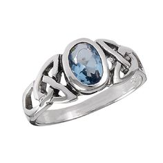 Sterling Silver Celtic Round Topaz Band Ring Sizes: 6, 7, 8, 9