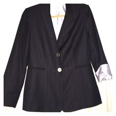 Chic! Calvin Klein Dark Blue Pin Stripe Blazer 10, Petite. Super flattering, tailored fit. 2-button. Rolled up sleeves for Chic look! Calvin Klein Jackets & Coats Blazers