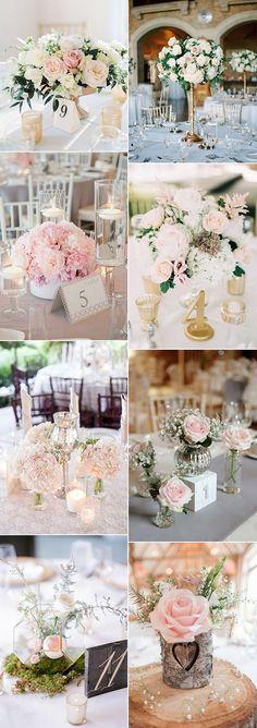 Des compositions florales et des centres de table pour un mariage romantique