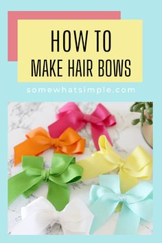 Learn how to make cute hair bows quickly and easily with our simple step-by-step picture tutorial! Making Hair Bows, Diy Hair Bows, Diy Bow, Bow Tutorial, How To Make Hair, Cute Hairstyles, Crafts For Kids, Simple, Hair Styles