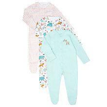 Buy John Lewis Baby Woodland Sleepsuit, Pack of 3, Cream/Aqua Online at johnlewis.com