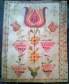 Stunning Fraktur Tulips and Grapes 19th Century Watercolor | eBay