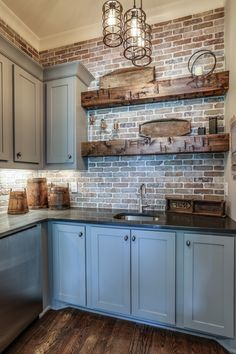 Farmhouse Kitchen With New England Fieldstone Accent Wall 22 . Farmhouse Kitchen With New England Fieldstone Accent Wall 22 Farmhouse Kitchen W Kitchen Redo, Kitchen Styling, New Kitchen, Kitchen With Brick, Basement Kitchen, Kitchen Rustic, Exposed Brick Kitchen, Farmhouse Kitchen Cabinets, Farmhouse Kitchen Products