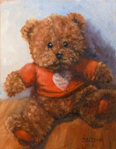 Surprised Teddy Love Bear Oil Painting Luv Bear Still Life Art Christmas Gift Holiday Childrens Toy, painting by artist Debra Sisson