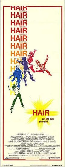Hair is a 1979 film adaptation of the 1968 Broadway musical of the same name about a Vietnam war draftee who meets and befriends a tribe of long-haired hippies on his way to the army induction center. The hippies introduce him to their environment of marijuana, LSD, unorthodox relationships and draft dodging.