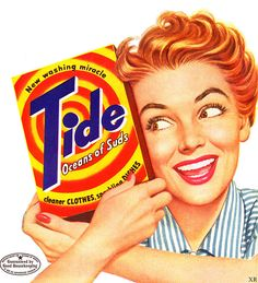 Cheerful, vibrantly hued Tide ad from the mid-50s. #vintage #laundry #1950s