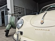 Vespa Super with Porsche 356. They look good together
