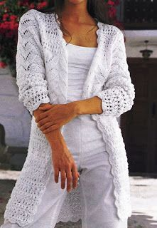 Patrones de Tejido Gratis - Chaqueta blanca en la mezcla de muestras - white knitted cardigan in mixed patterns