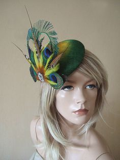 Fascinator Emerald Green   Yellow Peacock Feathers Crystal centre Headpiece  Hat for the Races 23c0129e94ee