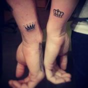 Small King Queen Couples Tattoo