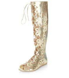 Gold Floral Laser Cut Out Knee High Boots  | New Look