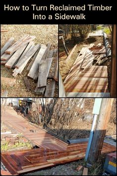 Heres a great project that allows you to build a footpath from recycled lumber. And it only costs $50.00!