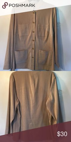 Tan Jacket 🌲 Long sleeve tan jacket with button closure. Double pockets in front. 97% polyester 3% spandex. Open to offers Norton Mcnaughton Jackets & Coats