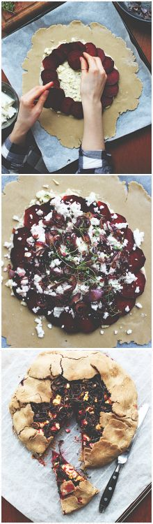 Buckwheat galette with beetroot, feta and caramelized red onion // Vegetarian + Gluten free