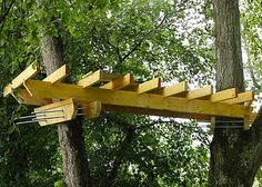 Tree house support with longer thread bars, can loosen over time to keep the tree healthy