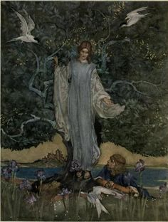 "venusmilk: William Russell Flint illustration forLe morte Darthur; the book of King Arthur and of his noble knights of the Round table""And the Damosel of the Lake rejoiced Sir Pellease"""