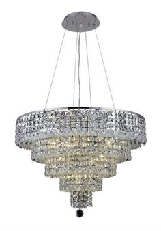 """Chantal - Hanging Fixture (14 Light Contemporary Hanging Crystal Chandelier) - 1732D26  ➤ Dimensions: W/D 26"""" x H 20"""""""