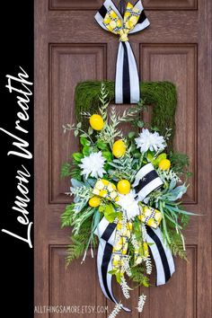 This lemon floral moss wreath is perfect for your spring and summer decor! It has bright lemons tucked into a moss base surrounded by various greenery, mums, and lemons topped off by a gorgeous bow. It screams refreshing for this spring and summer! Spring Front Door Wreaths, Spring Door, Spring Wreaths, Summer Wreath, Moss Wreath, Grapevine Wreath, Lemon Wreath, Deco Mesh Wreaths, Grape Vines