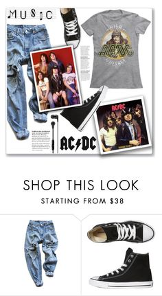 """AC/DC"" by christinacastro830 ❤ liked on Polyvore featuring Levi's, Converse, DC Shoes, Skullcandy and music"