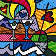 Romero Britto - love studying this with my graders! Excellent example of contemporary artist wit. Pintura Graffiti, Graffiti Painting, Graffiti Art, Arte Pop, Picasso Portraits, Paper Architecture, Tableau Design, Contemporary Paintings, Les Oeuvres