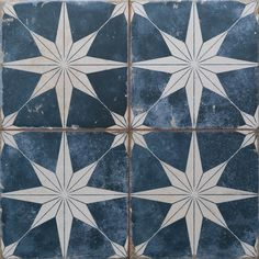 Imported from Spain, our Merola Tile Kings Star Encaustic in. Sky Ceramic Floor and Wall Tile radiates old-world European elegance. This encaustic-inspired tile features a unique, Wall Patterns, Star Patterns, Tiles Texture, Blue Tiles, Wall And Floor Tiles, Mosaic Wall Tiles, Tile Art, Star Sky, Shower Floor