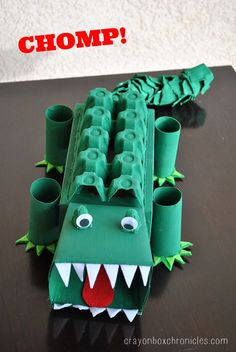 Alligator Affirmation Box - Showing Kids Love by Crayon Box Chronicles. Box is made from tissue boxes, paper towel rolls, and egg cartons.