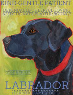 Labrador Retriever No 1 Black Lab Art Print 85x11 by ursuladodge