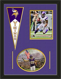 Two framed 8 x 10 inch Minnesota Vikings photos of Percy Harvin (including one HORIZONTAL photo framed in an oval) with a Minnesota Vikings mini felt banner, double matted in team colors to 24 x 18 inches.  The lines show the bottom mat color.  The oval photo will be cropped to fit.  (Pennant design subject to change)  $89.99 @ ArtandMore.com