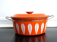 Vintage CathrineHolm Enamel Lotus Pot - Orange Enamelware, Mid Century, Catherineholm. $118.00, via Etsy.