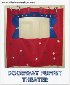 Make this easy, inexpensive no sew doorway puppet theater.