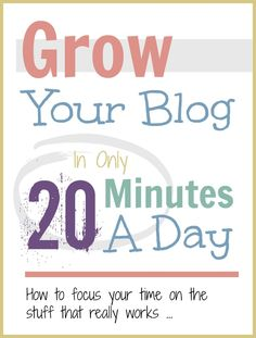 You can so many hours into your blog for little return but if you focus on just a few key things you can grow it enormously in just 20 minutes a day ...