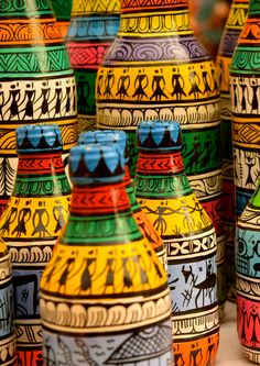 hand painted pattachitra bottles