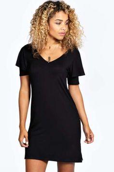 Lacie Frill Sleeve V Neck Shift Dress at boohoo.com