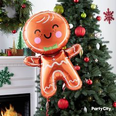 The Giant Gingerbread Man Balloon features a smiling gingerbread man. Everyone will crave gingerbread cookies when you decorate with this foil balloon! Christmas Birthday Party, Man Birthday, Christmas Themes, Christmas Decorations, Birthday Parties, Christmas Décor, Christmas Ornaments, Holiday Decor, Giant Balloons