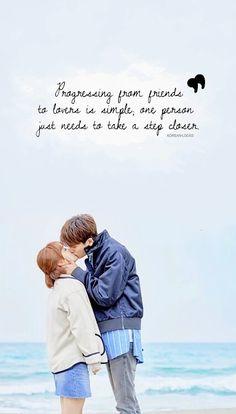 Progredir de amigos para amantes é simples;  uma pessoa só precisa dar um passo Mais perto. Korean Drama Romance, Korean Drama Quotes, Korean Drama Movies, Korean Actors, Drama Funny, Drama Memes, Park Bo Young, Park Hyung Sik, Strong Girls