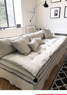 Canapé sur mesure Mille et Une Nuit en lin froissé beige ivoire